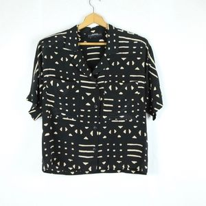 Vintage 90s Oversize Boxy Button Up Silk Black L